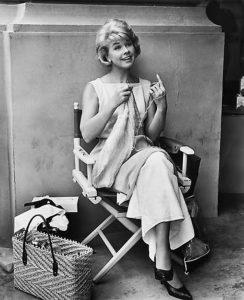 doris day on set knitting