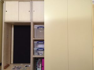 one japanese bi fold door on cupboard